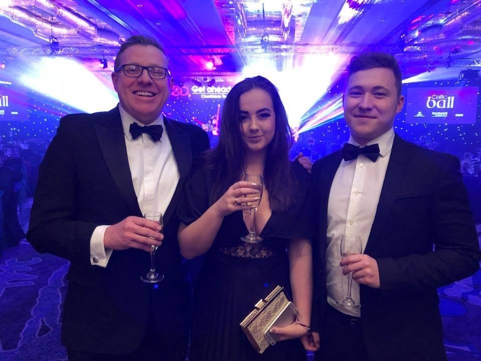 Le Mark's David Senior, with daughter Danielle and her partner Toby at the Get Ahead Charity's Celtic Ball