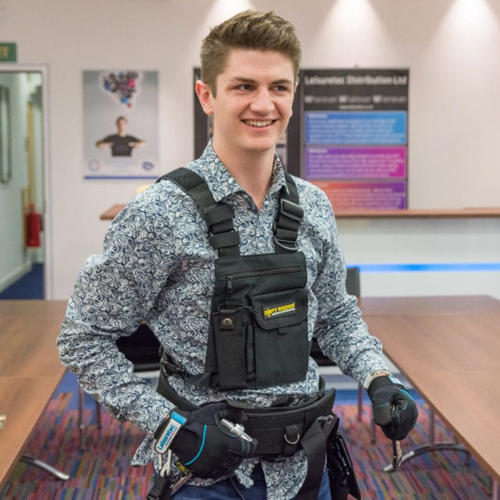 Leisuretec's Charlie modelling the Chest Pack and Padded Tool Belt