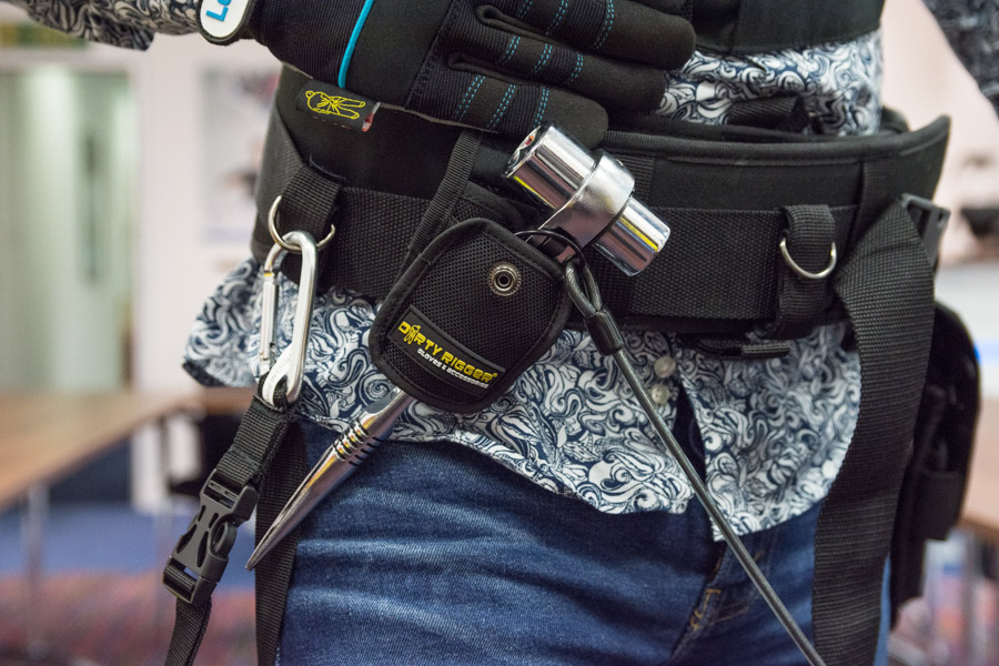 The team at Leisuretec trying on Dirty Rigger's Padded Tool belt, podger holster and more.