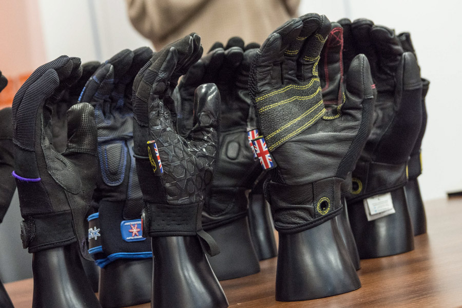 The gloves are lined up for the Training Day at Leisuretec