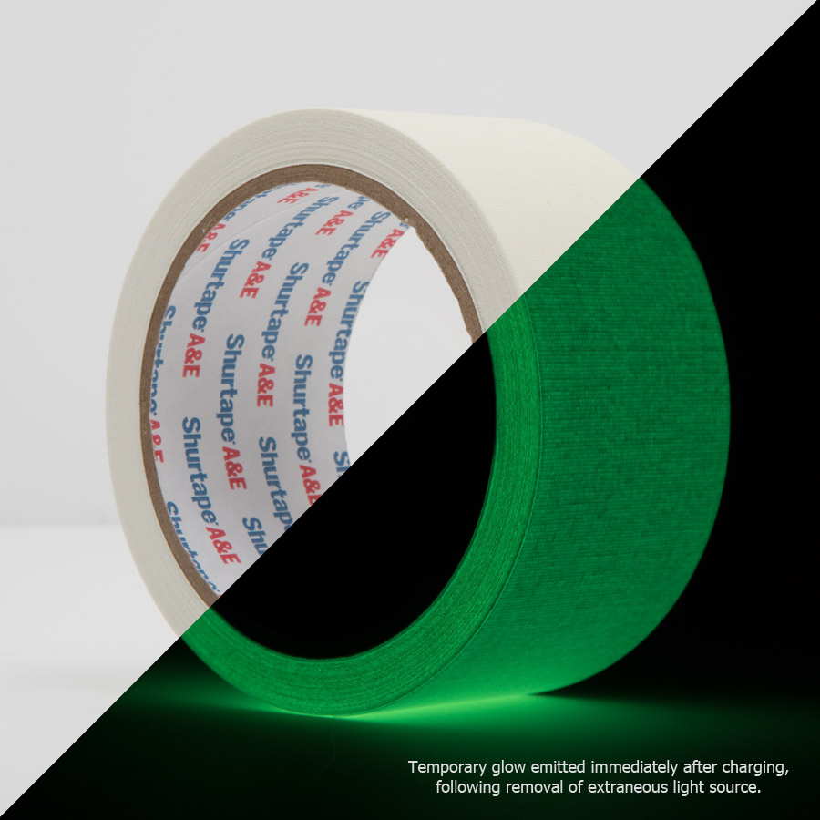 Photoluminescent Glow in the dark gaffer Tape (Split View)