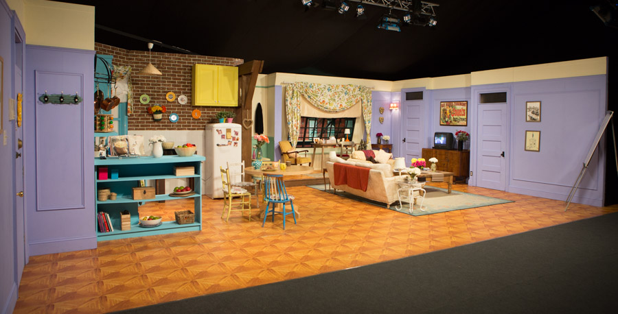 Monica's apartment set at Friends Fest with the custom printed floor produced by Le Mark