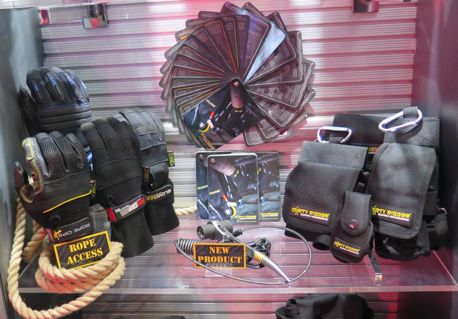 Dirty Rigger gloves and pouches on display
